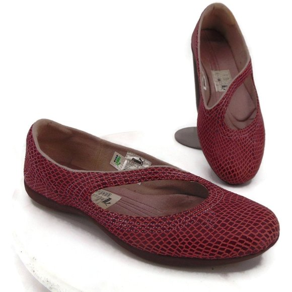 Puma Pink Reptile Embossed Mary Jane Flats 8.5